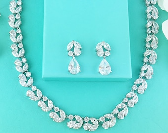Wedding Jewelry Set, CZ Bridal Necklace Set, bridal jewelry, wedding jewelry, cz jewelry set, jewelry set, wedding set 278844782