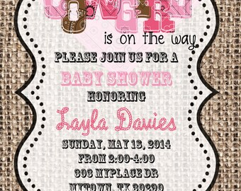 5x7 or 4x6 Bandana Cowgirl Shower Invitation- Baby Shower Invitation
