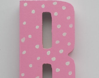 """Hand Painted """"R"""" Initial - Pink with White Dots"""