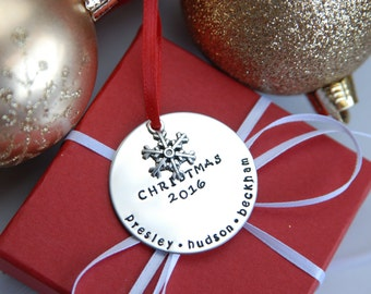 Personalized Christmas Ornament - Hand Stamped Christmas Ornament - Family Christmas Ornament - Holiday Gift - Personalized Ornament