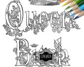 Queen Bit*h Swear word DIY Print at home  Digital Download Colouring Page, Adult Coloring, Swear words colouring page, sweary coloring page