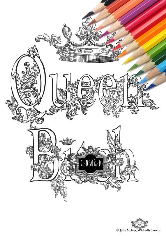Queen Bith Swear Word Diy Print At Home Digital Download