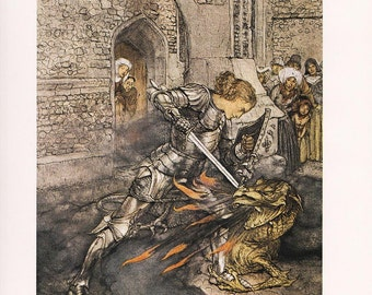 King Arthur Sir Lancelot dragon fine art print Arthur Rackham vintage illustration  home decor 8.5x11.5 inches