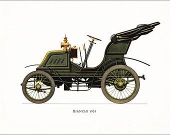Bianchi 1903 Italian veteran car motoring green vintage print illustration home office décor boy's nursery 9.5 x 7 inches