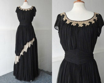 Adoreable Sheer 30s Vintage Maxi Dress // Black With Beige Lace