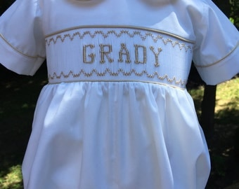 Special Occasion White/Name Hand Smocked Bubble (Infants/Little Boys)