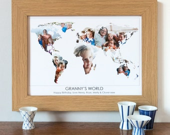 Grandma Photograph Map – Personalised Print for Gran – photo gift for gran – Mother's Day gift – keepsake for granny – gift for grandmothers