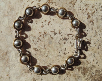 Laton ~ Vintage Mexican Sterling and Brass Half Globe Link Bracelet
