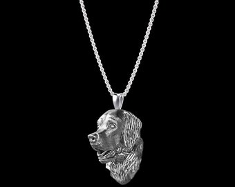 Golden Retriever Necklace in Sterling Silver. Great jewelry gift for all the Dog Lovers
