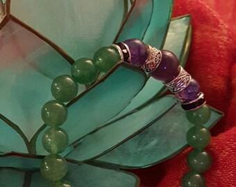 Gemstones Bracelet, Aventurine and Amethyst