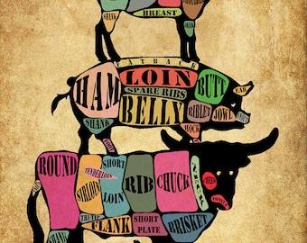 Meat Cut Poster - Pork Pig Beef Cow Lamb Chicken - Meat Cuts Chart - Diagram Print Wall Art Kitchen Decor #vi480