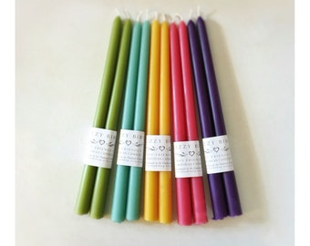 Beeswax Candles, Pastel Colors, Long Tapers, Tall Tapers, Beeswax Tapers, 12 inch Tapers, Custom Color Candles