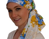 Jessica Pre-Tied Head Scarf - Spring Flowers - A Cancer, Chemo, Alopecia Hat, Head Cover, Wrap, for women experiencing hair loss.
