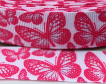 SALE*****Butterfly 7/8  Inch Grosgrain Ribbon by the Yard for Hairbows, Scrapbooking, and More!!