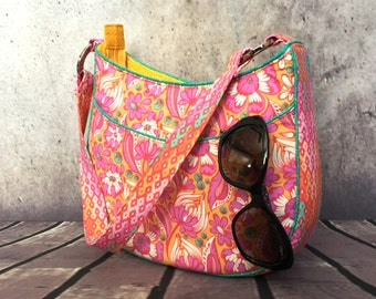 Tote bag, Roll With It Tote, small tote bag, floral bag, womens tote bag, orange tote bag, yellow bag