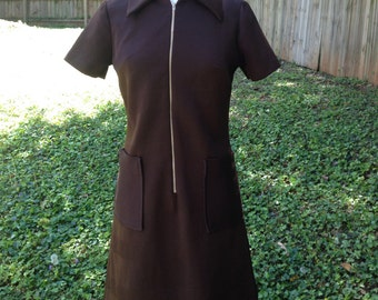 1960s Chocolate Brown Peggy Olson Dress