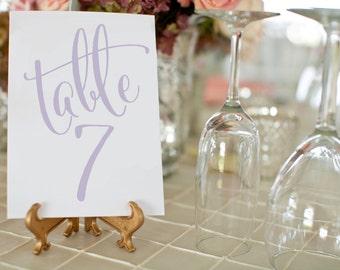 Lavender Printable Wedding Table Numbers ⋆ 1-50 Printable Wedding Table Number Cards ⋆ Purple Wedding Decor ⋆ 5x7 Table Numbers ⋆ #KKD105