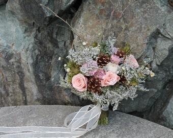 custom dried bridal bouquet, pinecone bouquet, peach and pink bouquet, woodland bridal bouquet, blush bridal bouquet, rustic bridal bouquet