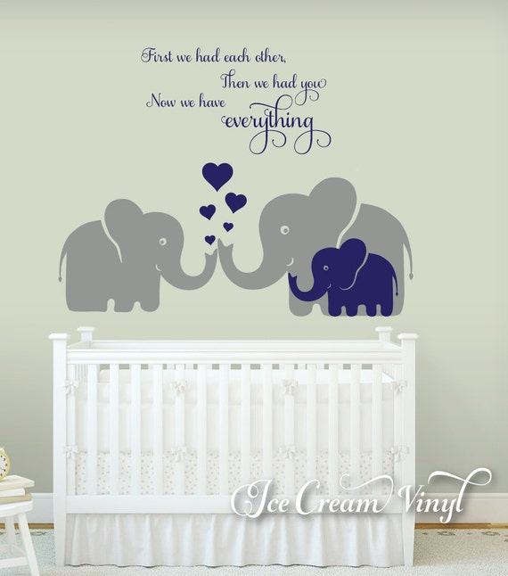 Elephant Decal, First We Had Each Other, Nursery Wall Decal, Vinyl Decals, Elephant Family