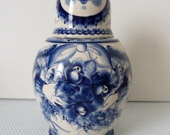 Large Russian doll Matryoshka Babushka Hand painted blue and white Gzhel bottle