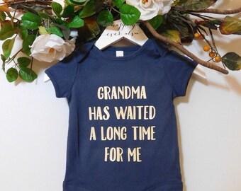 Grandma Onesie in Navy, First Grandchild, Soon to be Grandma, Just Like My Grandma, I Love My Grandma Onesie