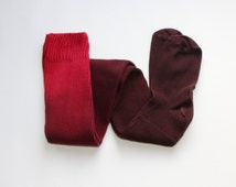 READY TO SHIP Red and Brown Ombre dyed Cotton Thigh High Socks