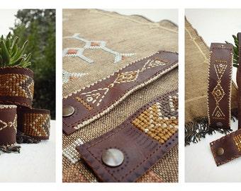SALE - Zenaga Bracelets - Leather & weaving - Native American ethnic Boho Bracelets.