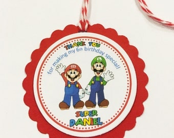 Set of 12 Personalized Mario Bros Favor Tags, Mario Bros Thank you Tags, Mario Gift Tags, Mario Bros Tags, Super Mario Party, Mario Tags