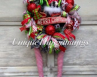 Elf Wreath, Christmas Elf Wreath, Christmas Elf