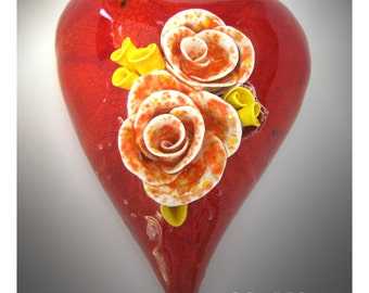 TigerBlossom! - Handmade Large Ceramic Heart Wall Hanging - by Lisa(LaLa) Agababian