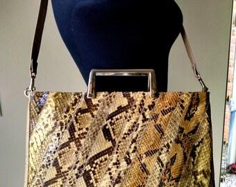 Vintage Bags by Varon Snakeskin Handbag / Purse / Clutch / Shoulder Strap / Retro / 1960's