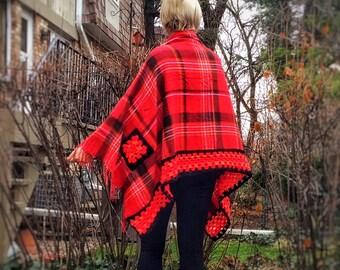 Upcycled Crochet Poncho Plaid Cape Red Wrap Shawl Unique Handmade Crochet Trim Granny Squares 100% Wool