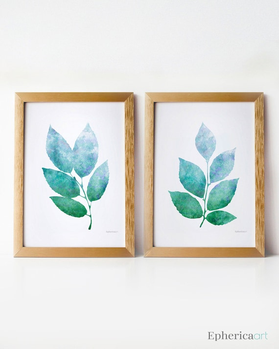 Wall Art Prints Download : Nature art wall prints printable set blue green