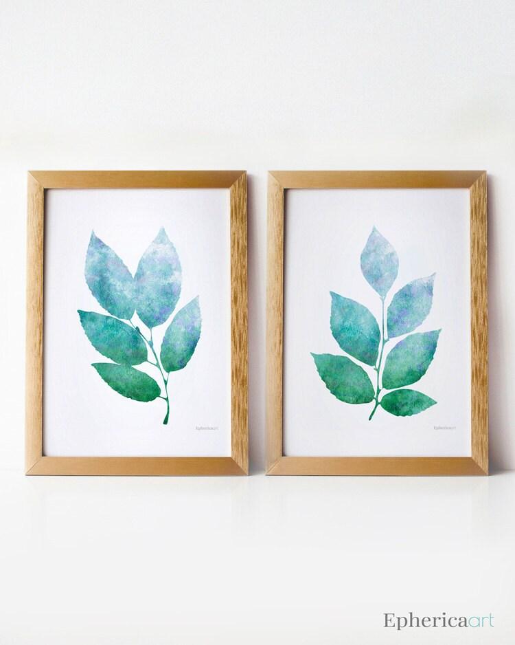 nature art wall prints printable art set blue green art 5x7. Black Bedroom Furniture Sets. Home Design Ideas