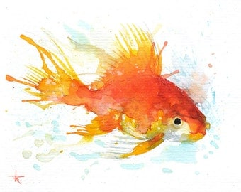 """Golden Fish - ORIGINAL Watercolor - 4.5x5.5"""" - Fish, UNFRAMED, Painting by Bruno M Carlos"""
