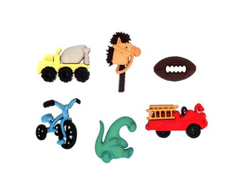 Boyz Toyz Jesse James Buttons For Boys Dump Truck Polo Pony Football Tricycle Dinosaur Toy Fire Truck Fun Novelty Party Favors Sewing Supply