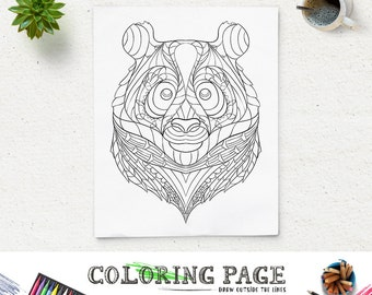 Printable Coloring Page Animal Head Pages Panda Pattern Adult Book AntiStress Art Therapy