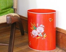 vintage RANSBURG wastebasket, Hand painted BOUQUET,  Oval metalware trash can, RED