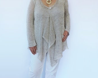 Plus size sweater Knit cardigan Summer overcoat Linen sweater Womens sweater Plus size fashion Extra large cardigan Long coat Large clothing