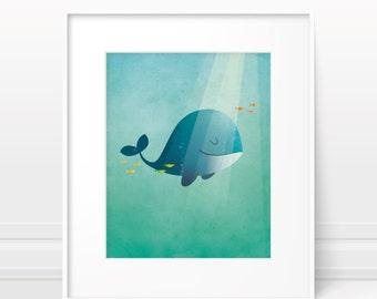 Whale nursery art print - Original kids art nursery decor, childrens art, ocean theme nursery, nursery print, whale print, kids art