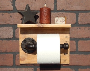 Industrial Pipe and Reclaimed Pallet Wood Toilet Paper Holder with Shelf
