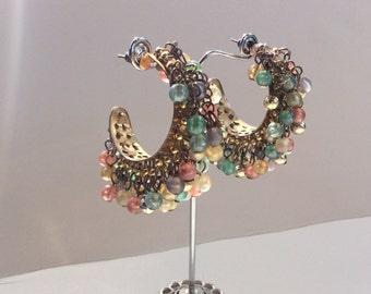 Dangling beaded hoop flat earrings handmade
