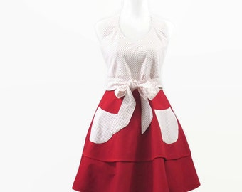Red & White Apron, Red and White Halter Apron, Red and White Retro Apron, Red Full Skirt Apron, Red Halter Apron, Red Retro Apron