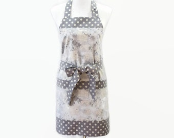 Womens Gray Apron with Large Pockets, Gray Personalized Apron, Gray and White Apron, Personalized Apron for Mom, Mothers Day Gift Apron
