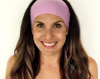 Yoga Headband - Workout Headband - Fitness Headband - Running Headband - Heathered Pink Print - Boho Wide Headband