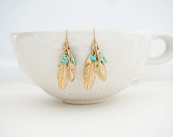 Gold and Turquoise Feather Cluster Earrings