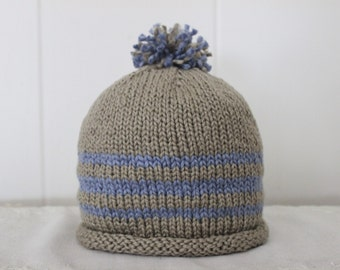 Size 9 - 12  Months Organic Cotton Hand Knit Dove Gray and Blue Hat