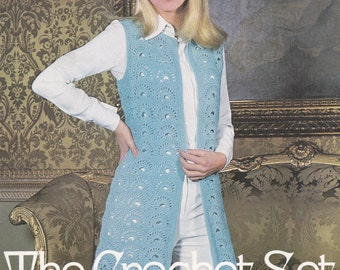 Womens crochet waistcoat vintage crochet pattern sleeveless vest jacket pdf INSTANT download pattern only pdf