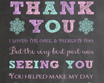 Winter ONEderland Thank You Card - Winter Wonderland Thank You- Chalkboard Snowflake Birthday  - Printable Thank You- First Birthday