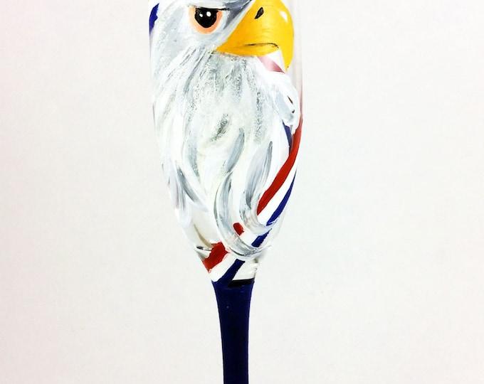 Champagne Flute, Champagne Glasses, 4th of July Decor, Unique Glassware, Patriotic Gifts, American Eagle, Toasting Flutes, Eagle Decor
